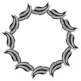 Black and white guilloche round frame.  Raster clip art. Royalty Free Stock Image