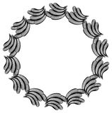 Black and white guilloche round frame.  Raster clip art. Black and white abstract round frame. Copy space. Guilloche border for certificate or diploma, isolated Royalty Free Stock Photo