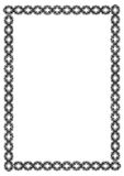 Black and white guilloche vertical frame.  Raster clip art. Stock Photography