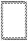 Black and white guilloche vertical frame.  Raster clip art. Stock Photos
