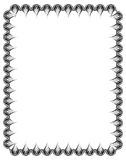 Black and white guilloche vertical frame.  Raster  clip art. Black and white abstract vertical frame. Guilloche border for certificate or diploma, isolated Royalty Free Stock Photos