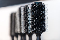 Black and white hair brushes Stock Photos
