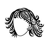 Black and white hair salon vector logo icon in brush drawing style Royalty Free Stock Photo