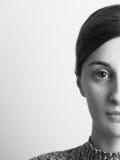 Black And White Half Portrait Of Beautiful Girl Stock Photo