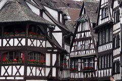 Black and white half-timbered houses Stock Images