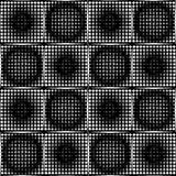 Black and white halftone circle pattens in checker background, seamless tileable vector ornament Stock Photo