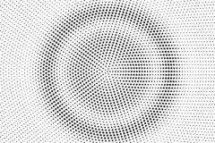 Black and white halftone vector. Round dotted gradient. Concentrated rough dotwork surface. Vintage overlay textured with ink dots. Monochrome halftone vector illustration