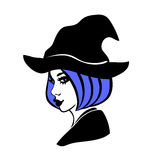 Black and white halloween design element, witch in a hat vector illustration