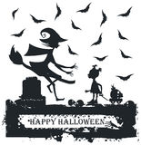 Black and white Halloween illustration with child and witch. Halloween Greeting card Stock Photos