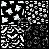 Black and white halloween patterns. Halloween patterns with ghosts, skulls, bats and pumpkins Stock Photos