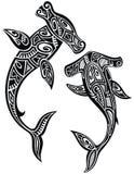 Hammer sharks tattoo in Maori tribal style Royalty Free Stock Image