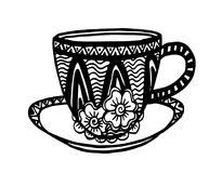 Hand drawing doodle coffee cup pattern vector illustration. Black and white hand drawing doodle coffee cup pattern vector illustration Stock Photos
