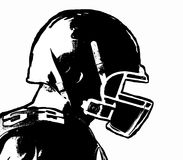 Black and white hand drawn american football player on white bac. Kground - vector illustration royalty free illustration