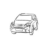 Black and white hand drawn car on white background, illustrated Royalty Free Stock Photography