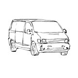 Black and white hand drawn car on white background, illustrated Stock Photo