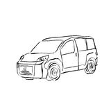 Black and white hand drawn car on white background, illustrated Stock Images