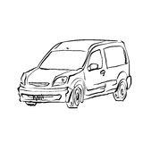 Black and white hand drawn car on white background, illustration Royalty Free Stock Photos