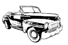 Black and White hand drawn classic American car on white backgro Stock Photos