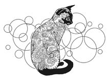 Black and white hand drawn cat doodle animal paisley adult stress release coloring page zentangle. Black and white hand drawn doodle animal paisley adult stress stock illustration
