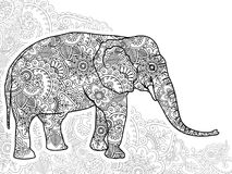 Black and white elephant hand drawn doodle  animal paisley adult stress release coloring page zentangle  Stock Photography