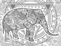 Black and white elephant hand drawn doodle  animal paisley adult stress release coloring page zentangle  Royalty Free Stock Image