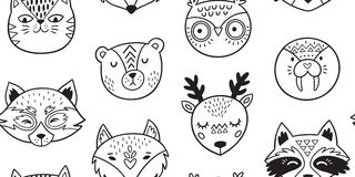 Black and white hand drawn doodle animals seamless pattern Stock Photography
