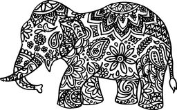 Black and white hand drawn doodle elephant Stock Image