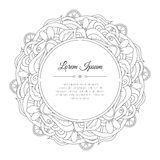 Black and white hand drawn doodle frame with waves and lemons or limes. Royalty Free Stock Image