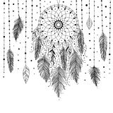 Black and white dreamcatcher card. Black and white hand drawn dreamcatcher with floral details and feathers, vector illustration, can be used for coloring book vector illustration