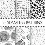 Black and white hand drawn endless background set. Seamless tribal pattern with dots, dashed lines, strokes, circles, squares. Monochrome organic doodle design Stock Illustration