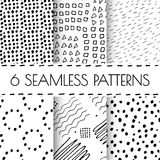 Black and white hand drawn endless background set. Seamless tribal pattern with dots, dashed lines, strokes, circles, squares. Monochrome organic doodle design Vector Illustration
