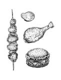 Black and white hand drawn fast food set: sandwich, kebab, fried stock illustration
