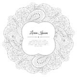 Black and white hand drawn floral doodle frame. Royalty Free Stock Photo