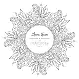 Black and white hand drawn floral doodle frame. Royalty Free Stock Photography