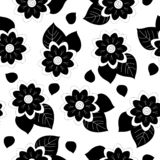 Black and white hand drawn flowers and leaves, repeat seamless pattern with white background. vector illustration
