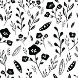 Black and white hand drawn flowers seamless pattern vector illustration