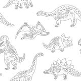 Black and white hand drawn fossil dinosaurs seamless pattern Stock Image
