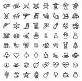64 black and white hand drawn icons Stock Images