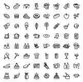 64 black and white hand drawn icons - FOOD & COOKING Stock Photo