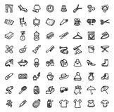 64 black and white hand drawn icons - HOME & ACCESSORIES Royalty Free Stock Image