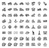 64 black and white hand drawn icons - TRANSPORTATION & ARCHITECTURE Royalty Free Stock Images