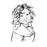Black and white hand drawn illustration of a woman, girl with cu Stock Image