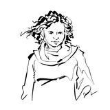 Black and white hand drawn illustration of a woman Royalty Free Stock Photo