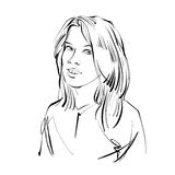 Black and white hand drawn illustration of a woman, girl with st Royalty Free Stock Image