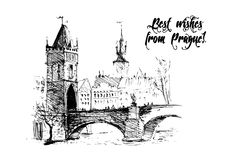 Black and white hand drawn ink sketch of Prague with text message. Royalty Free Stock Photo