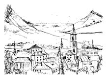Black and white hand drawn landscape with old Georgian town, mountains   Royalty Free Stock Images