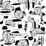 Black and white hand drawn line art citrus fruit on abstract brush stroke background. Seamless vector pattern. Great for home decor, fabric, stationery, paper vector illustration