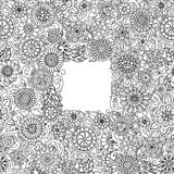 Black and white hand drawn pattern with flowers. Doodle background for web, printed media design, invitation, coloring book. Stock Photo