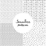 Black and white hand drawn seamless pattern set. Abstract doodle background. Vector print. Random signs Stock Photography