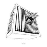 Black and white hand drawn sketch of organ. Large musical instrument with pipes. Vector royalty free illustration